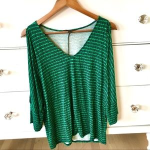 🌸Banana Republic green/black long sleeve blouse